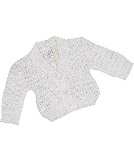 BabyPrem Babykleidung Neugeborene - 6 Monate Strickjäckchen Pullover Spitzenartig WEIß 6-9