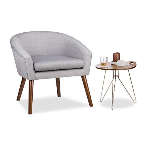 Relaxdays Cocktailsessel Retro, weich, bequem, abnehmbares Sitzkissen, runder Klubsessel, HxBxT: 71 x 74 x 67 cm, grau