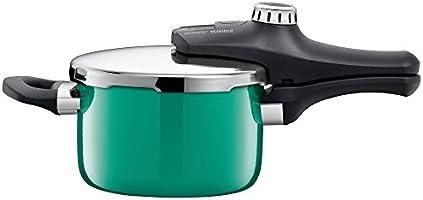 Silit Sicomatic econtrol Schnellkochtopf 2,5l, Silargan Funktionskeramik, 3 Kochstufen Einhand-Drehregler induktionsgeeignet, spülmaschinengeeignet, grün, Ø 18 cm