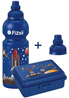 Brotdose und Ersatzverschluss Polizei 0,6l Fizzii Set mit Trinkflasche