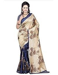Fabwomen Sarees Floral Print Beige And Blue Coloured Bhagalpuri Art Silk Traditional Casualwear Women's Saree/...