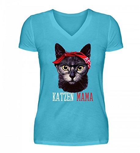 Hochwertiges V-Neck Damenshirt - Katzen Mama Lustiges Vintage Mieze Kätzchen mit Bandana T-Shirt Geschenk Damen Mutter (Kitty Bandana)