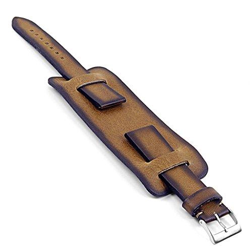 Manschette Mm Uhr 22 Band (dassari Gauntlet Vintage Italienisches Leder Uhrenarmband in oliv 22mm)