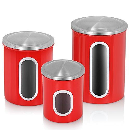 Fortune Candy Food Storage finestra, anti impronte Set di 3, Acciaio inossidabile, Rubine Red, 3.9*3.9*4.9inch, 4.9*4.9*6.4inch, 5.4*5.4*8.0inch