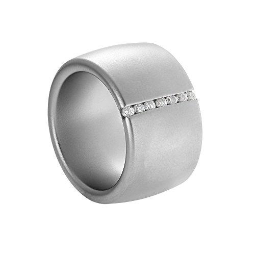 Heideman Ring Damen Lines aus Edelstahl Silber farbend matt Damenring für Frauen mit Swarovski Stein Zirkonia Weiss im Brillant Schliff 1,5mm