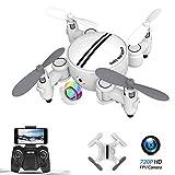 Mini drone pieghevole, WiFi FPV 720P con videocamera HD APP controllo , RC drone tascabile RTF quadricottero, modalità senza testa, rotazione a 360 °, altitudine, One Key Start(bianco)