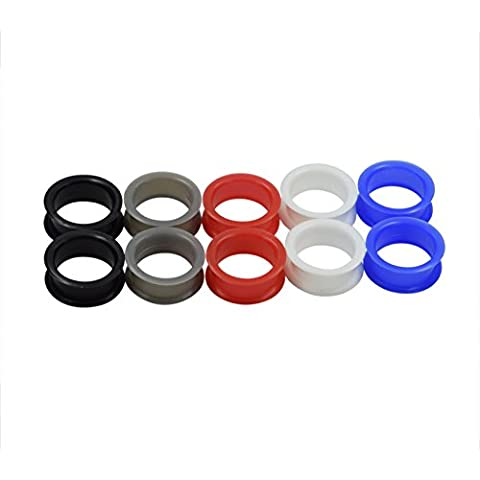 D&Min Jewelry 5 Pairs - Silicone Flesh Tunnels - Kit Soft Ear Plugs Stretcher Piercing 8g 6g 4g 2g 0g 00g 1/2