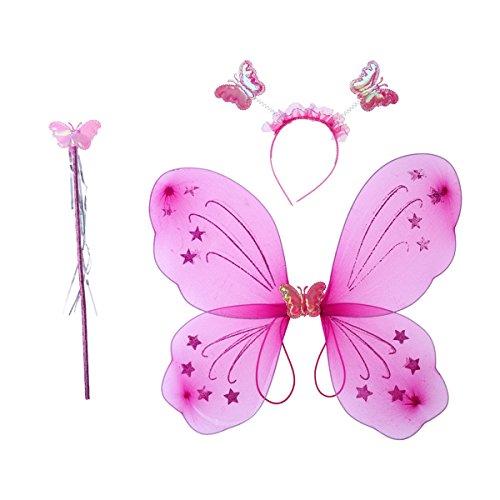 Kostüm Baguette - luoem Mädchen-Kostüm Fee Schmetterling Flügel Baguette Kostüm Fee Haarband 3teilig (Rosa Rot)