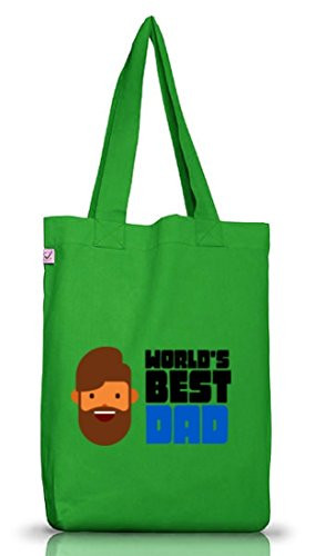 Geschenkidee Jutebeutel Stoffbeutel Earth Positive mit World's Best Dad Motiv Kelly Green