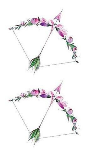 Temporäre Gefälschte Tätowierung Aufkleber Aquarell Pfeil Rosa Grün Design Body Art Make Up Werkzeuge 10,5X6Cm8Ps ()
