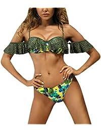 da655ca5a2 Femme Bikini 2pieces Haute Taille Floral, Mode Lotus Feuille Côté Vague  Côté Bikini Perles Bandage