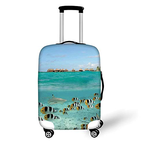 Travel Luggage Cover Suitcase Protector,Ocean,Blacktip Reef Shark Chasing Butterfly Fish Lagoon of Bora Bora Tahiti,Aqua Yellow and Black,for Travel -
