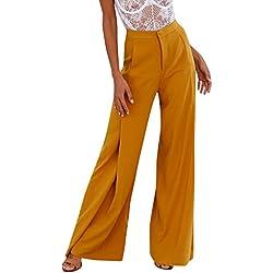 Sunenjoy Pantalon Large Femmes Taille Haute Ample Bootcut Jambe Large Palazzo Évasé Pantalon Loose Casual Mode Chic Élégant - Jaune - Taille S