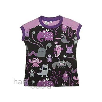 Shirt in Größe 98 mit lila Monstern auf schwarz vorne und einfarbig flieder hinten, Bündchen lila, 95% Baumwolle, 5% Elasthan