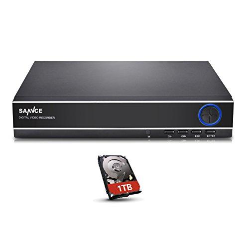 SANNCE 4CH 1080N CCTV DVR Recorder mit 1TB überwachung Festplatte Netzwerk Digital Video Recorder H.264 für Videoüberwachung Aufzeichnungsgerät Bewegungserkennung Fernüberwachung (Festplatten-video-recorder)