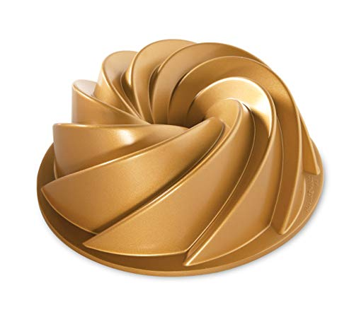 Nordic Ware 80677 Heritage Bundt Pan, One, Gold Aluminium Bundt Pan