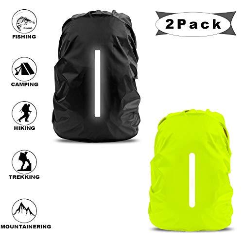Regenschutz für Rucksäcke mit Reflexstreifen,wasserdichter regenschutz für schulranzen und rucksack,regenhülle rucksack,regenschutzhülle rucksack,wasserdichte regenhülle 2 pack (Schwarz + Grün)