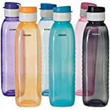 Amazon Brand - Solimo Plastic Water Bottle Set with Flip Cap (6 pieces, Multicolor, Dotted pattern)