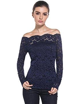 MODETREND Mujeres Camisetas Manga Larga Blusas de Encaje Flores Lace Crochet sin Tirantes Camisas