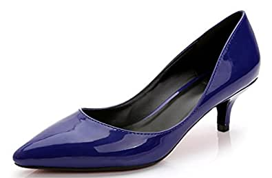 CAMSSOO Xm18, Damen Elegant, Blau - Blue Patent PU - Größe: 43 EU