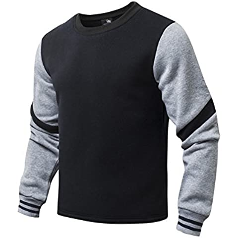 AIRAVATA Hombres Algodón Suéter De Chicos Delgado Ajuste Ligero Prendas De Vestir De Color Sólido De Empalme Jersey