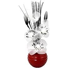 Flourish 813 Zierblume mit Vase, klein, Nylon, Rot / Weiß