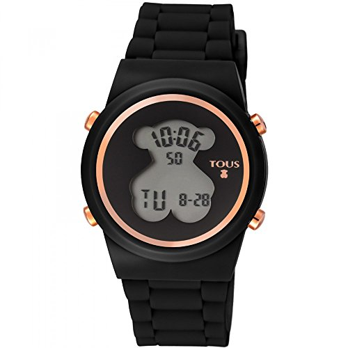 Reloj digital -Bear de acero IP rosado con correa de Silicona negra