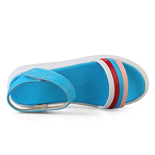 TAOFFEN Damen Gemutlich Plateau Sandalen Strand Flach Schuhe mit Klettband Blau