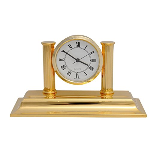 El Casco - Reloj con portalápices (chapado en oro de 24 quilates)