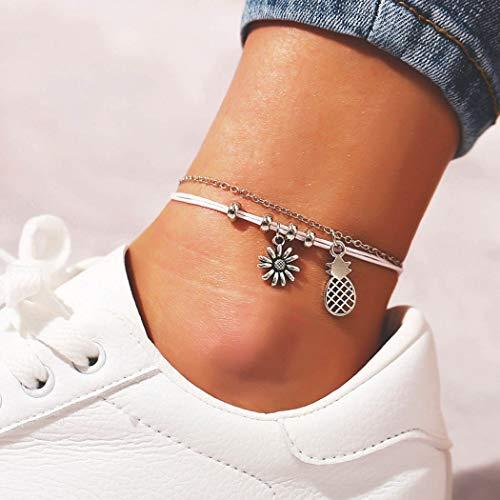 Yean Boho Ananas Anhänger Fußkettchen Sonnenblume Knöchel Armband Mode Perlen Fuß Schmuck Kette für Frauen und Mädchen