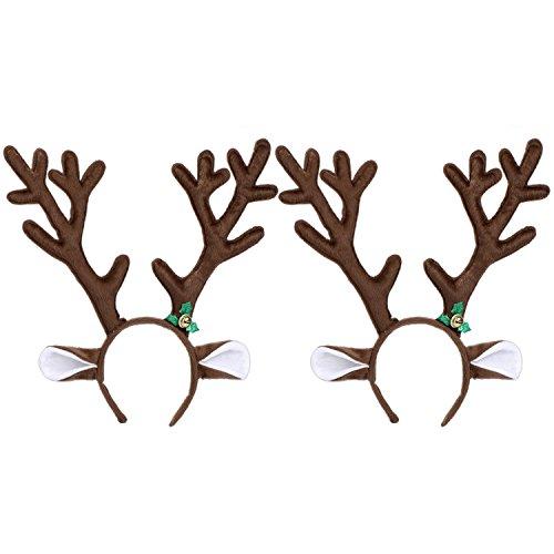 Braun Elch (2 Stück Braun Rentier Haarreife Süß Geweih Haarreif Weihnachten Elch Stirnband für Halloween Weihnachten Ostern Party Dekoration)