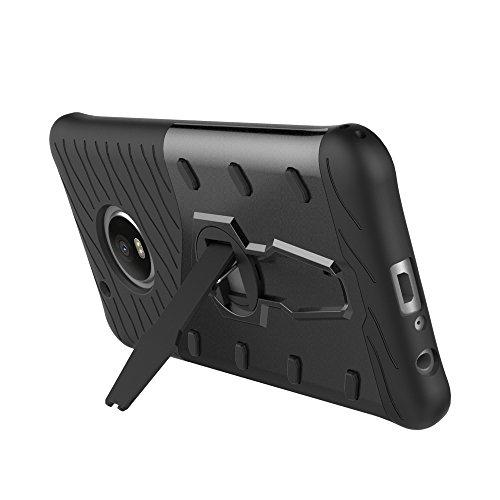 Für Moto G5 Plus Case Neue Rüstung Tough Style Hybrid Dual Layer Rüstung Defender Soft TPU / PC Rückseitige Abdeckung mit 360 ° Stand [Shockproof Case] ( Color : Gold ) Black