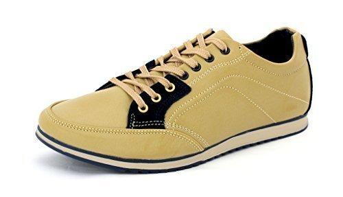 Da Uomo Casual Tela Scarpe Da Ginnastica Stringate scarpe Corsa décolleté UK 6 7 8 9 10 11 - Beige/Blu scuro, 6 UK / 40 EU