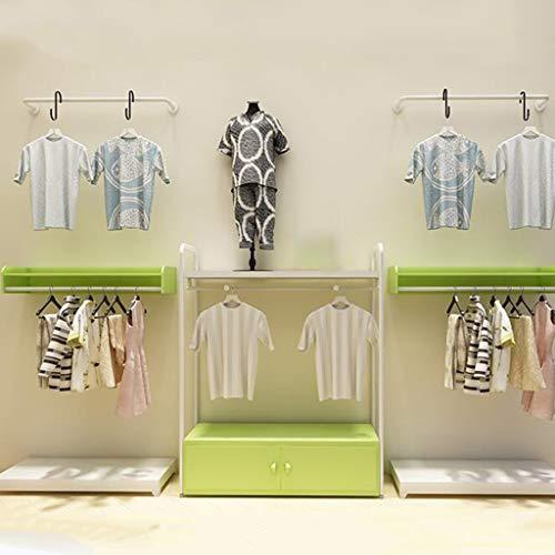 Kleidung Rod (GYC Hölzerne Haushalts-Aufhänger, Wand-Aufhänger, MDF + Stahl Kohlenstoff-Rod-Eisen-Kleidungs-Gestelle/Bekleidungsgeschäft-Regale/Ausstellungsstand- / Wand-Regal-Gestell/Wand, die an der Wand a)