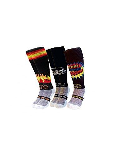 WackySox Saver Pack Knistern Rugby-Eishockey Socken Junger Erwachsener Schuh-Größe 35-40