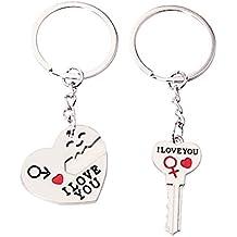 """Unicoco 2 Llavero""""I Love You"""" Genial Regalo para Pareja Llavero de San Valentín Aniversario Key Fob"""