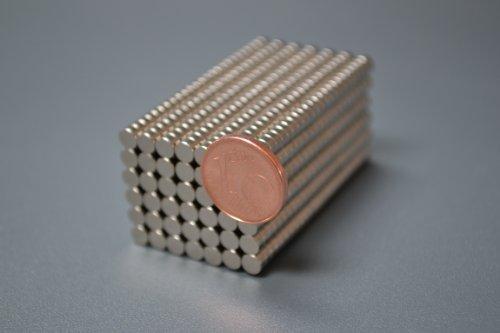 100 Neodym-Supermagnete 6 x 2 mm
