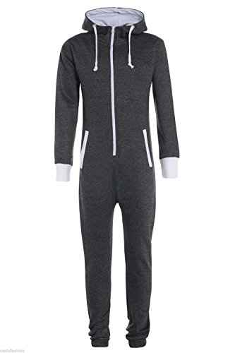 New Girls Boys Unisex Plain Hooded Onesie Ribbed White Cuffs Children's Hooded Onesie All In One Age 7-13 Yrs (9/10, CHARCOAL)