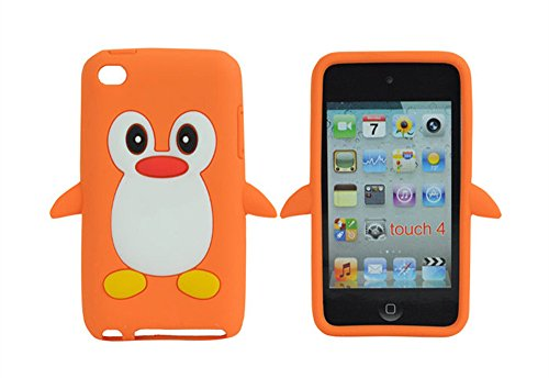 TSMINE Apple Ipod Touch 4. Generation Pinguin-Karikatur-Fall - Cute 3D Penguin Weiche Silikon-Rückseite waschbar Cover Case Schutzhülle für iPod Touch 4. Gen, Orange