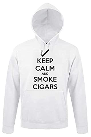 Keep Calm and Smoke Cigars Awesome Smoker Design Lovely Pullover Homme Femme Unisex White Hoodie Pullover
