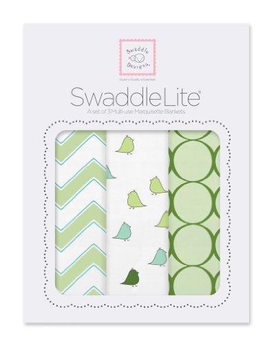 SwaddleDesigns Pucktücher aus Premium Baumwollmarquisette, 3er Set, Pfeilförmiges Muster, Kiwi