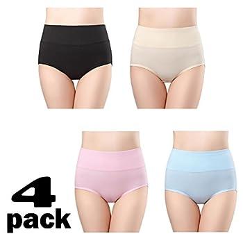 wirarpa Culottes Femmes Coton Taille Haute sous-vêtements Slip Elasticité Boxer Femme Ventre Plat Taille 34-58
