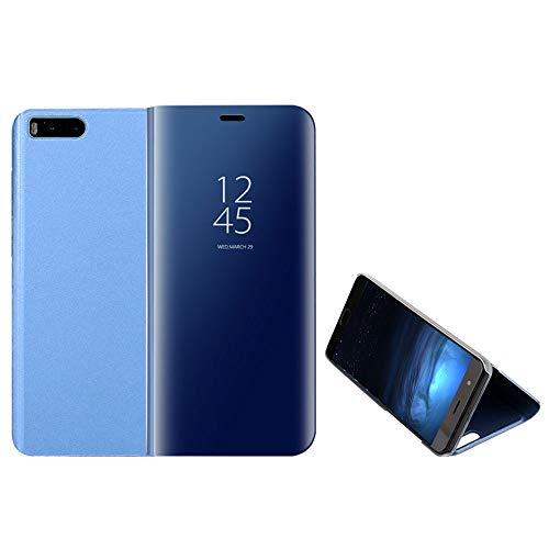 Funda Xiaomi Mi Note 3, Anfire Piel Carcasa de Espejo Transparente Flip Inteligente Case Soporte Plegable Auto Sueño / Estela 360 Protección Completa Cuero Fundas Lujoso Cover Smart Bumper Tapa - Azul