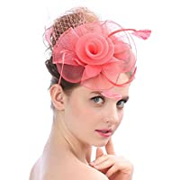 Lh$Yu Womens Hair Headwear Bowler Blumen Hut Handarbeit Royal Mesh Net Cocktail Mode Sinamay Fascinator Braut Hochzeit