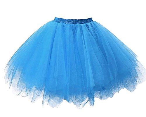 Facent Mädchen Kinder Kurz Tutu Rock Tüllrock Tütü Crinoline Minirock Reifrock Unterrock Kleid Tüll Eisblau