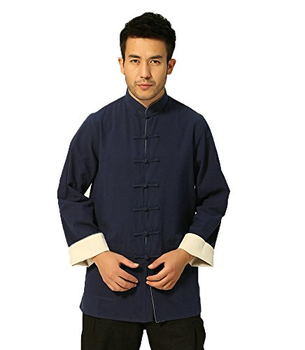 rm Kleidung–Traditionelle Chinesische Martial Arts Wing Chun Shaolin Taekwondo Training Tücher Apparel Kleidung für Senioren Anfänger Herren Frauen Arthritis–Baumwolle & Lin, Herren, Blue & Beige (Die Besten Halloween-kostüme Für Freunde)