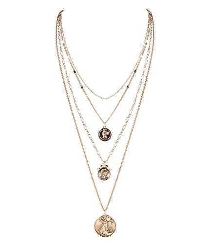 SIX Damen Halskette, Layering Kette, mehrreihig, Kopf Münzen, Anhänger, antik, Gold (758-675)