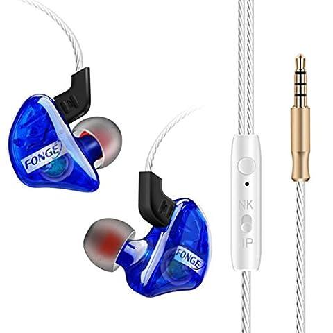 Omiky® 3.5mm mit Mikrofon Bass Stereo In-Ear Kopfhörer Kopfhörer Headset Earbuds (Blau)