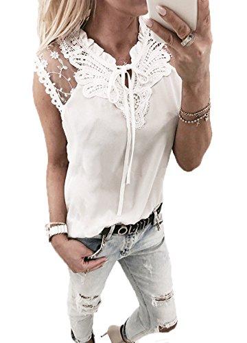 Yutila Damen Chiffon Bluse Hemd mit Spitze, Weiß, S(EU 36)