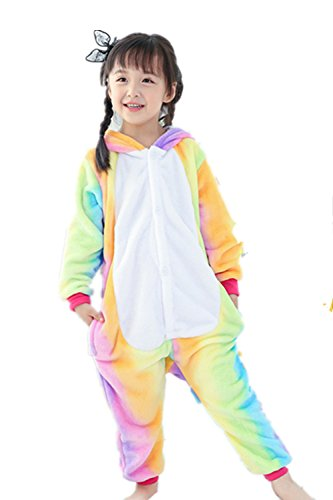Missley Einhorn Pyjamas Kostüm Overall Tier Nachtwäsche Erwachsene Unisex Cosplay (125CM, Rainbow-Children)